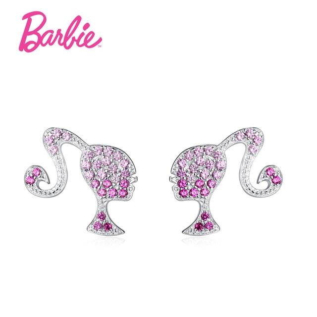 Barbie Angel Stud Earrings Fashion 925 Sterling Silver Crystal For Women Jewelry Gift Earring Set