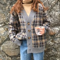 OLGITUM 2019 New Autumn Plaid Cardigans Sweater Women's Long Loose Loose Lazy Wind Knit Jacket Korean Sweater