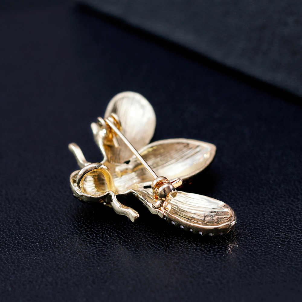 CINKILE горный хрусталь пчела броши для женщин насекомое с эмалевым покрытием Шпильки Модные маленькие осенние корсаж джинсы интимные Аксессуары Рюкзак значки подарок
