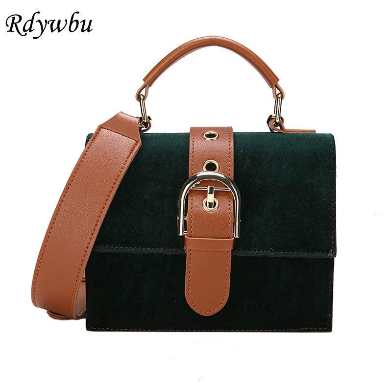Rdywbu Velour Wide Strap Shoulder Bag Womens New Fashion Flap Handbag Girls Casual Travel Bag Luxury Velvet Crossbody Bag B216