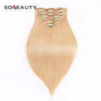 Straight Hair Clip in Human Hair Extensions blonde skin weft color 16 hair 7pcs/set 16 clips cuticle intact thick bottom hair