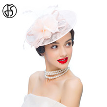 FS Flower Sinamay Women British Pink Formal Hat For Wedding Fascinators And Hats  Dress With Feather Pillbox Hat Chapeu Feminino 1e492e84ee3