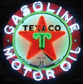 Texaco Gasoline Glass Neon Light Sign Beer Bar