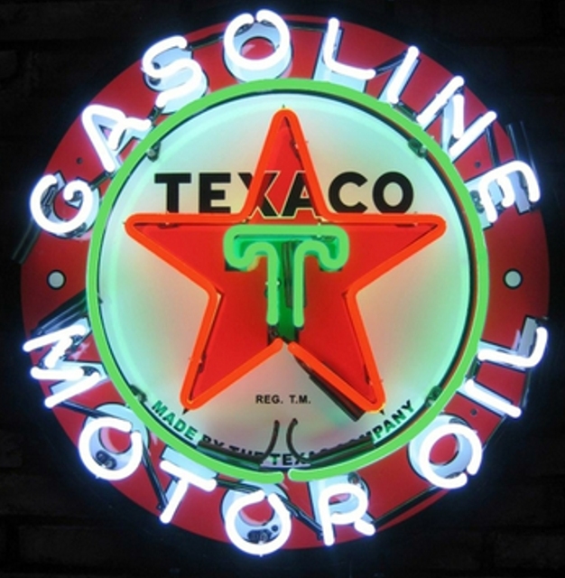 Texaco Gasoline Glass Neon Light Sign Beer Bar