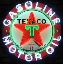Custom Texaco Benzine Motor Olie Glazen Neon Light Teken Beer Bar