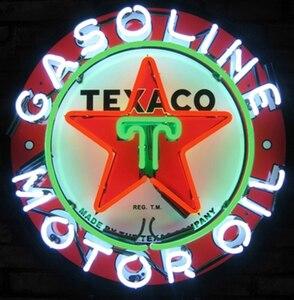 Image 1 - Custom Texaco Gasoline Motor Oil Glass Neon Light Sign Beer Bar
