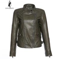 Retro style ladies lambskin leather jacket High grade Leather jacket women Black sheepskin coat high quality coat