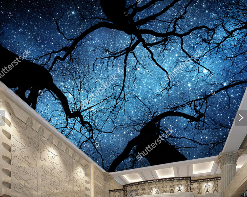 Custom ceiling wallpaper, beautiful night sky, for living room KTV restaurant children room background wall papel de parede custom wallpaper murals ceiling the night sky for the living room bedroom ceiling wall waterproof papel de parede