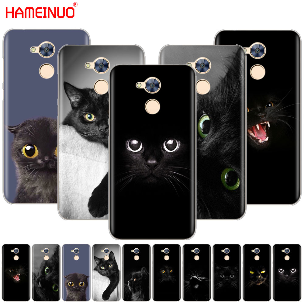 HAMEINUO Black Cat Staring Eye On Cover phone Case for Huawei Honor 10 V10 4A 5A 6A 7A 6C 6X 7X 8 9 LITE image