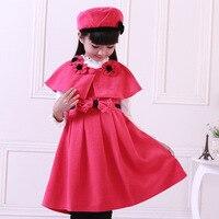 Enfants Vêtements Automne Hiver de Laine Princesse Robe Pour Les Filles Trois Pièces Fille Coréenne Châle Chapeau Robe Ensembles