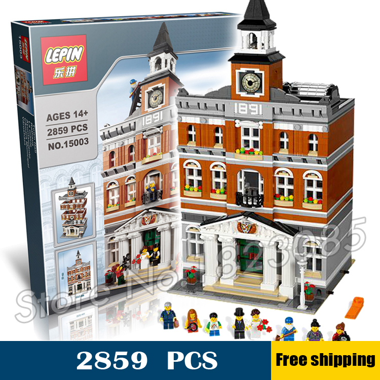 2859pcs 15003 New Creator Town Hall Bell tower DIY Model Building Blocks Bricks Education Toys Compatible with Lego lepin 15003 2859pcs city creator town hall sets model building kits set blocks toys for children compatible with 10024