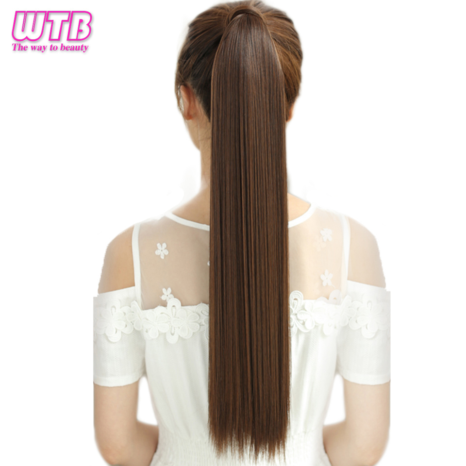 WTB Synthetic Hair Pony Tail Hair Extensions Long Straight Heat Resistant Clip In Hair Tail False Hair Ponytail Hairpiece