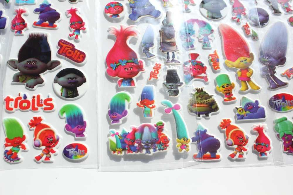 6 Sheets/set High Quality cute trolls  Stickers  Kids Toys Sticker girl  boy