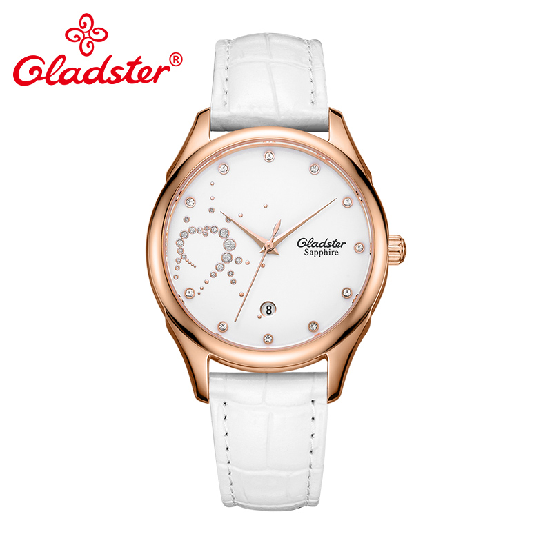 Gladster Sapphire Crystal Mirror Ladies Wristwatch Heart-Shaped Crystal Dial Women Watch Single Calendar Show Leisure Female Wat