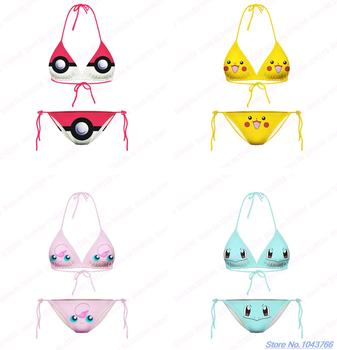 Cute Smiley Face Pikachu Swimwear Two-Pieces Squirtle Beachwear 3D Print Cartoon Pokemon Go Bikini Set Jigglypuff Swimsuit Sexy plan