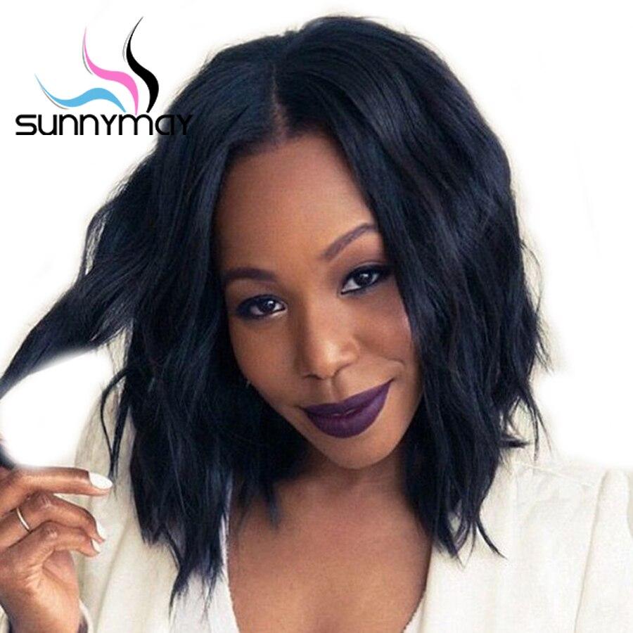 Sunnymay Cheveux 150% Avant de Lacet de Cheveux Humains Perruques Pour Les Femmes Ondulés pré Pincées Brésiliens Remy Cheveux Bob Perruques Noeuds Blanchis Perruques Courtes