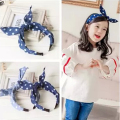 Retail Fashion litter girl Denim dots  hair dot band kids rabbit ear headband children hair accessories