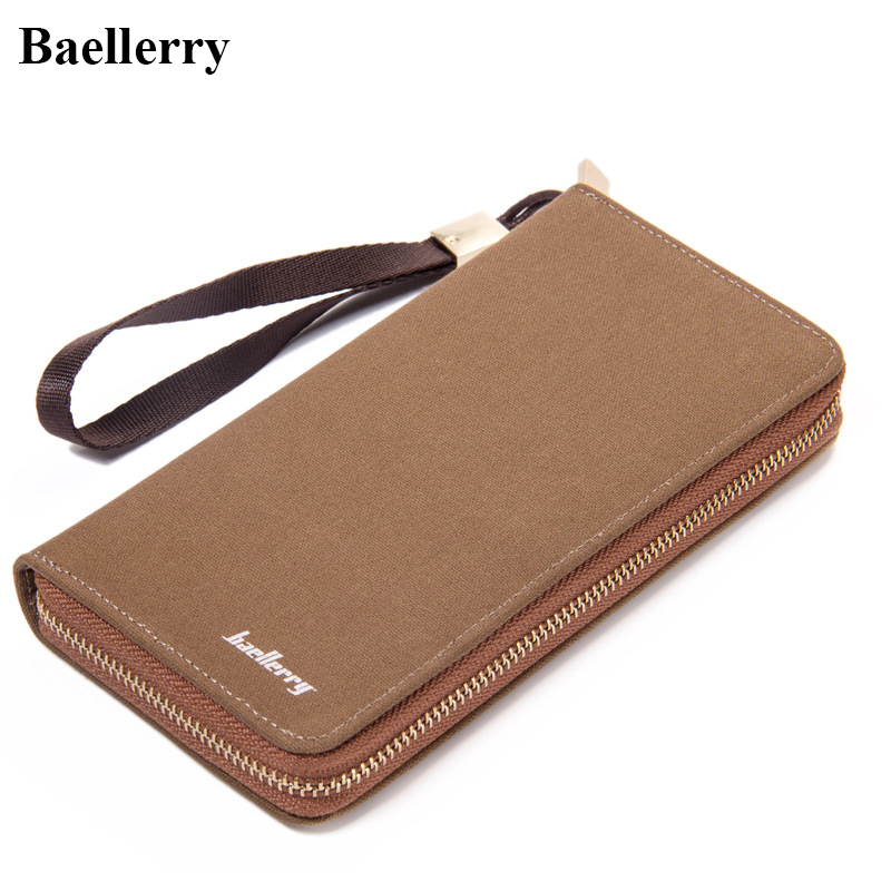 Hot Sale Canvas Long Wallets Men High Capacity Baellerry Brand Classical Wallets Purses Card Holder Clutch Bags Zipper Pocket hot sale leather men s wallets famous brand casual short purses male small wallets cash card holder high quality money bags 2017