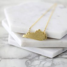 10PCS Cut Outline Kentucky State Necklace Silhouettes America USA KY State Map Pendant Chain Necklaces for Hometown Gifts