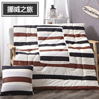 Brown Stripes Pattern Cotton Square Bolster Blanket Two Uses Cushion Good Quality Pillow Summer Quilt Decorative