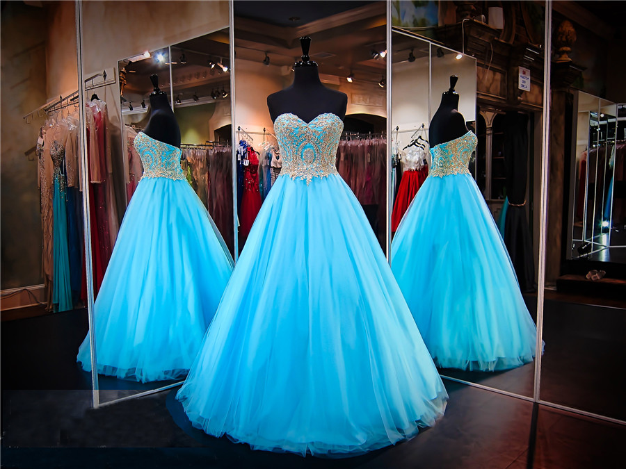 Turquoise Strapless Sweetheart Ball Gown Prom Dress Tulle