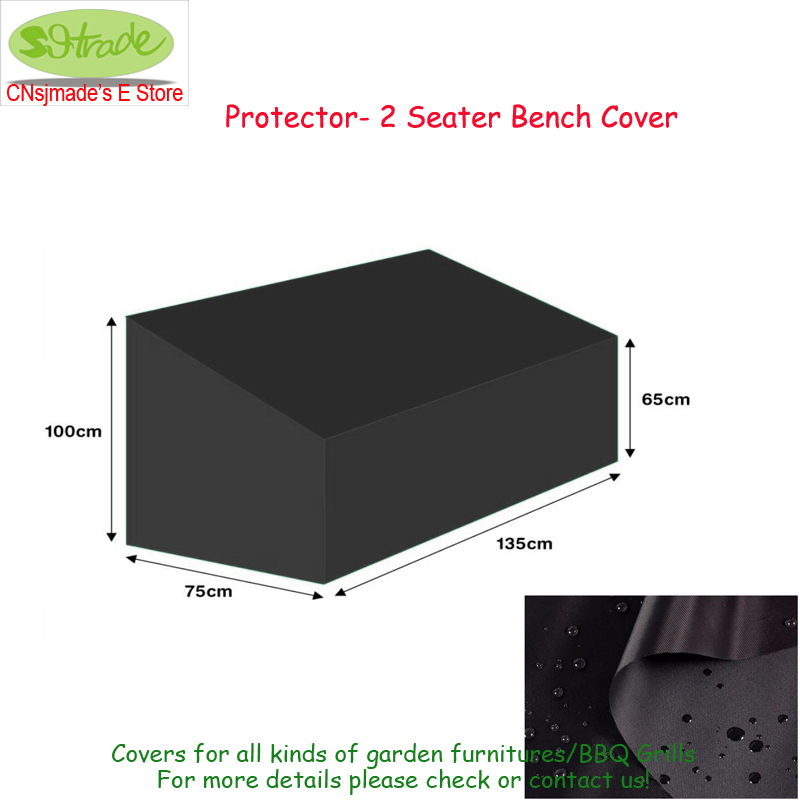 Protector 2 seater Bench cover-135cm,135x75x65/100cm, Black color waterproofed cover protective cover,Outdoor wooden chair cover ...