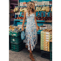 Boho Chic Summer Vintage Floral Print Long Strap Dress Women 2018 Fashion Backless Pleated Slits Beach Dresses Vestidos Mujer