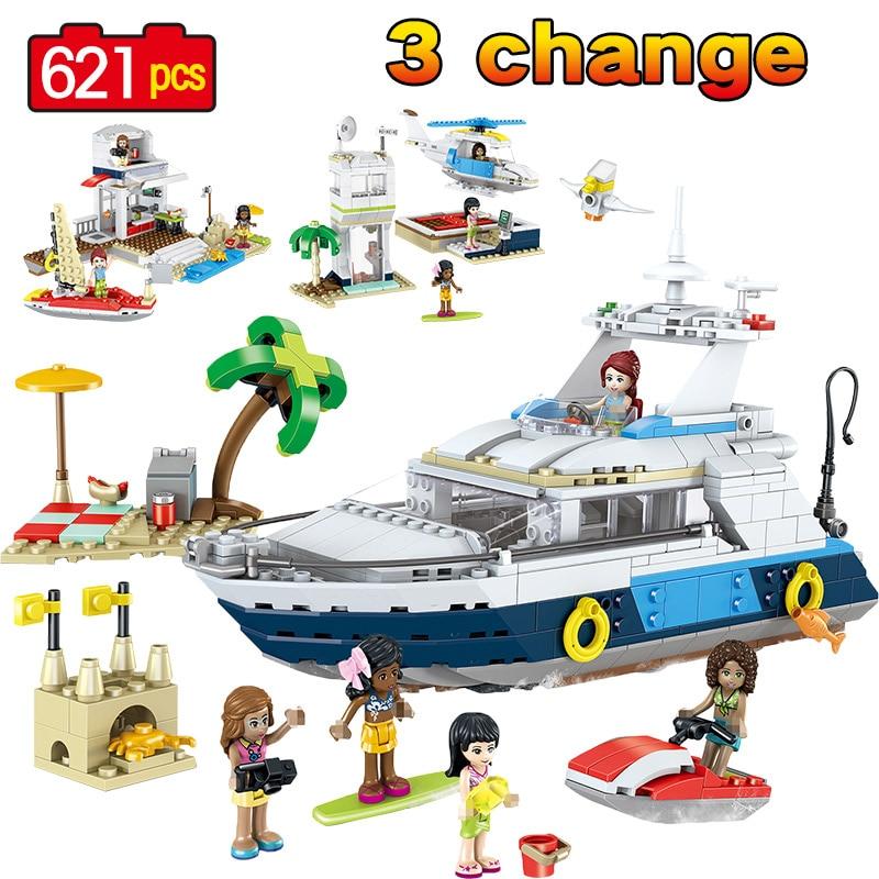 621PCS Luxury Yacht Cruising Adventures Ship Building Blocks Compatible LegoINGLY Creators 31083 Model Bricks Education Toys цена