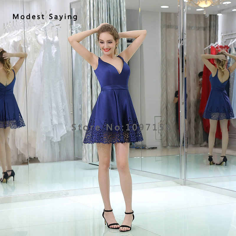 ... Sexy Backless Blue A-Line Short Cocktail Dresses 2018 with Straps Girls  Mini Cut- a893caa523a4