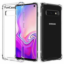 Shockproof Clear Silicone Case For Galaxy M20 S10E S10 S9 S8 Plus S7 S6 Edge Capa For Samsung A7 A6 A8 J4 J6 Plus J8 2018 Cover(China)