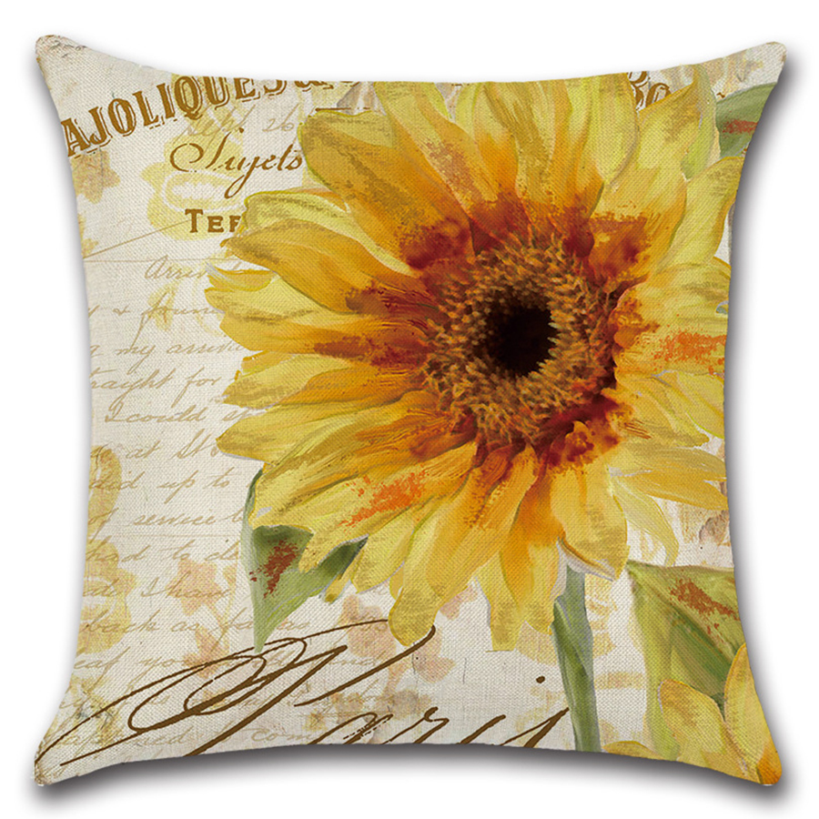 Image 3 - Plant Flower Letter Cushion Cover Set Oil Paiting Sunflower Pillowcase 45x45 for Car Sofa Living Room Decoration Custom Made-in Cushion Cover from Home & Garden