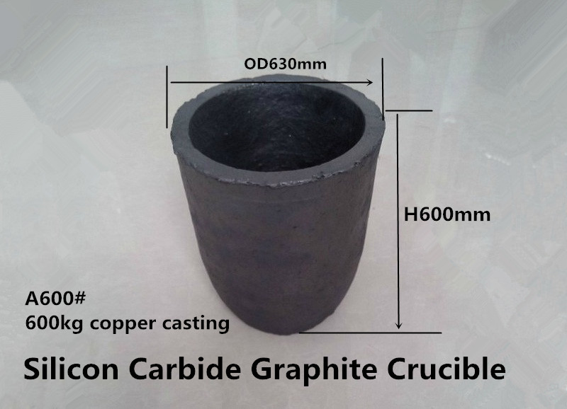 A600# Silicon Carbide Graphite Crucible for 600kg copper /Zinc melting crucible /Graphite Crucible 30ml arc shaped pyrolytic graphite crucible