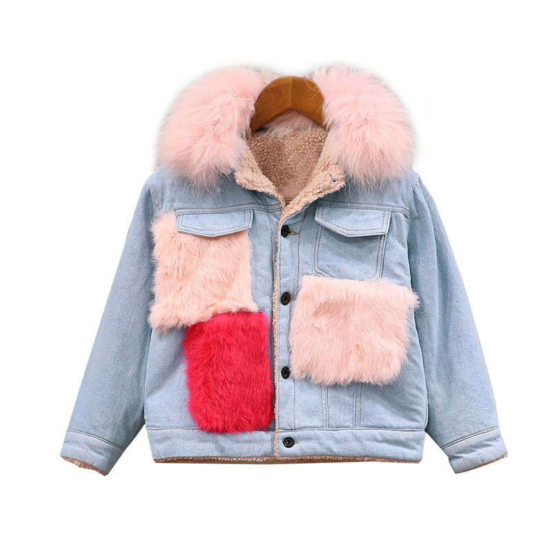 Fashion Warm Thick Girls Denim Jacket Winter Fleece Jacket for Little Teenage Girls Woolen Pockets Jeans Girls Coats and Jackets цены онлайн