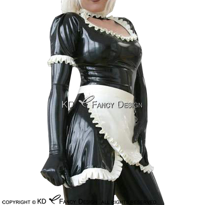 Sexy French Maid Latex Dress With Slits At Front Bottoms And White Apron Zipper At Back Rubber Uniform Bodycon Playsuit LYQ-0130