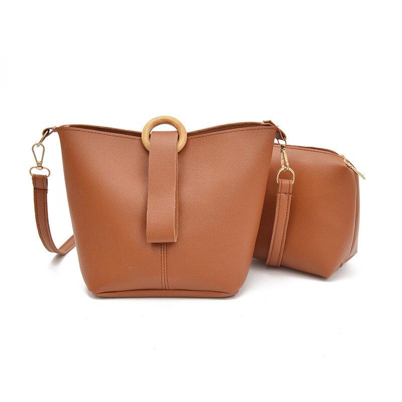 Mrs win 2 Pcs/Set Vintage Handbags Hot Sale Women Messenger Bags Female Purse Shoulder Bag Office Lady Casual Tote Bolso Pattern