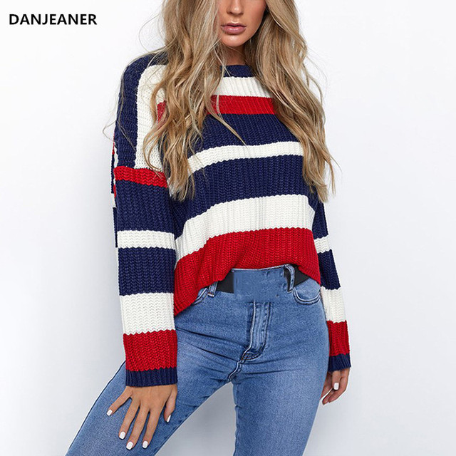 e7423206d9116 Danjeaner Streetwear Rainbow Stripe Knitted Sweater Women Casual Short Knitting  Pullovers Plus Size Winter Jumpers Harajuku