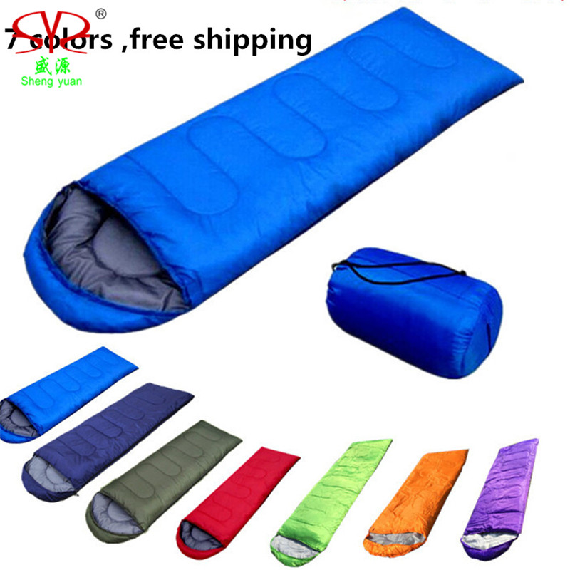 Adult Sleeping Bag Envelope Hooded Travel Camping Water Resistant Thick Sleeping Bags Autumn Spring Outdoor Warm 5 color new стоимость