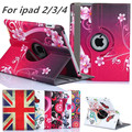 "9.7""for ipad 3 2 New Arrive 360 Rotating Flower Butterfly Flip Stand PU Leather Case Cover For Apple ipad 2 3 ipad 4 Tablet Case"