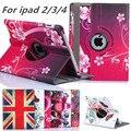 """9.7 """"para ipad 3 2 nuevo llega 360 rotating flor de mariposa del soporte del tirón pu cubierta de cuero para apple ipad 2 3 ipad 4 tablet caso"""