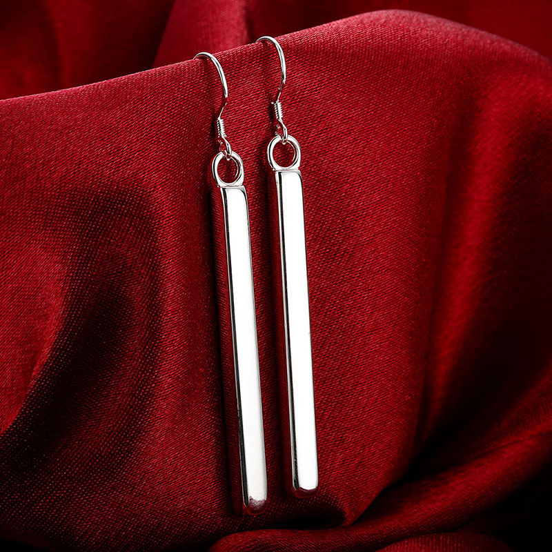 SUKI S925 Silver Plated Punk Simple Bar Earrings Long Stick Drop Earrings Wholesale For Women Jewelry Geometry Brincos Bijoux in Drop Earrings from Jewelry Accessories