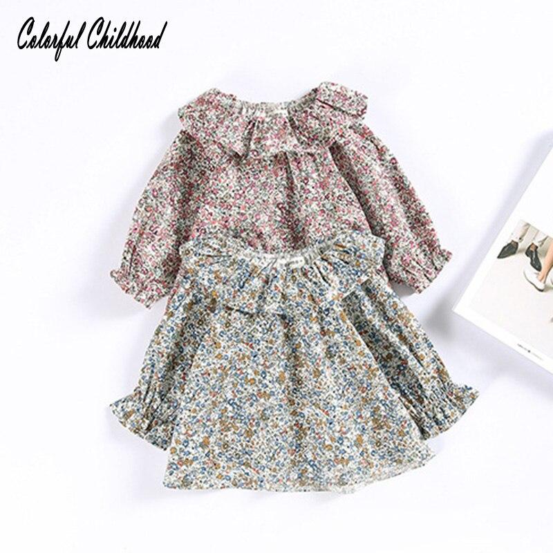 2017 Kinderen Retro Ruches Kraag Trui Shirt Kleine Bloemen Pop Baby Shirt Kinderen Meisje Top Blouse Kids Infant Blouses Duidelijke Textuur