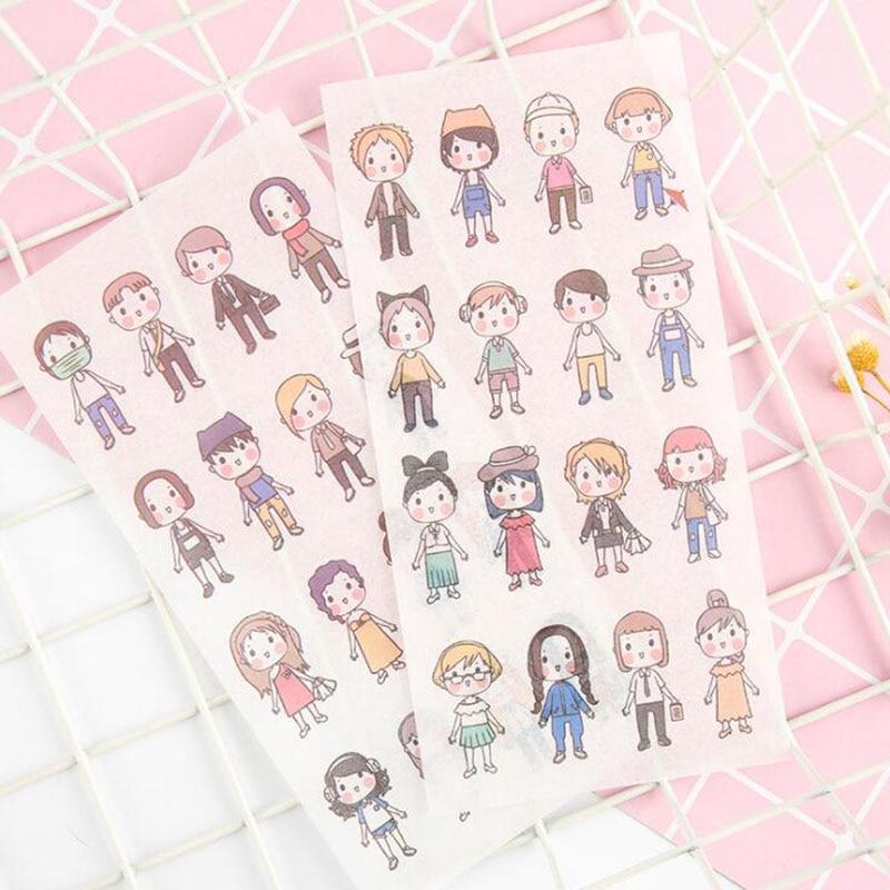 6/pack New Mini Boys Student Stationery Diy Transparent Sticker Cartoon Decorative Diary Album Sticker Scrapbooking Supplies