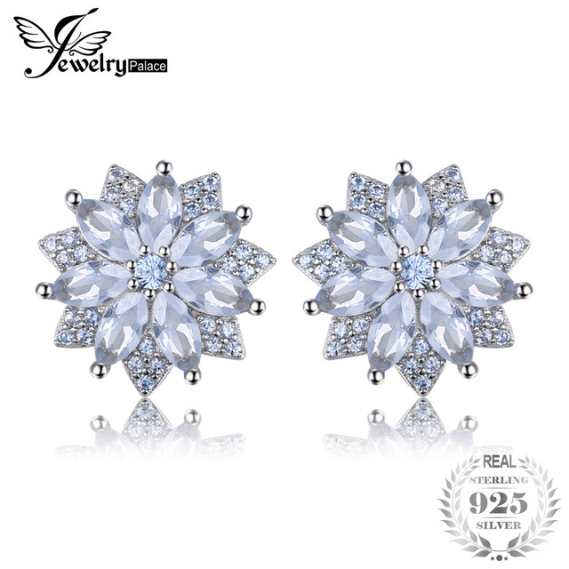 JewelryPalace Flower 1.3ct Created Light Blue Spinel Stud Earrings 925 Sterling