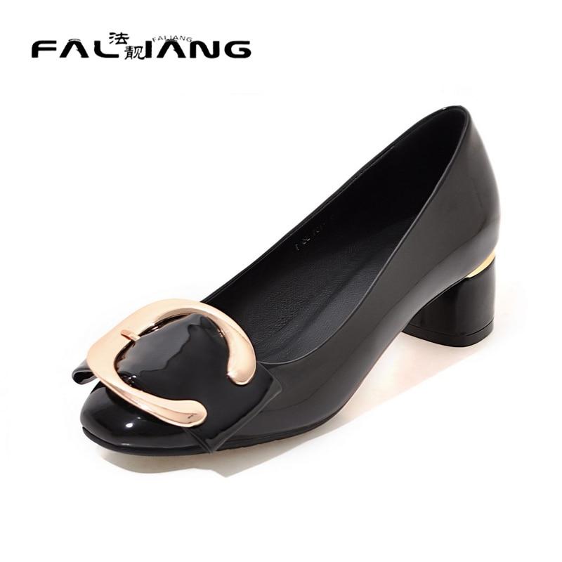 ФОТО Big Size 11 12 Elegant Square Toe Metal Decoration Casual Square heel Women's Shoes Pumps Woman For Women
