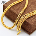 "Cool Mens 24K-Gold-Plated Flat Franco Snake Foxtail Chain Necklace 6mm Wide,30"" Hip Hop Necklace"