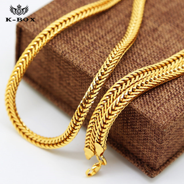 Cool Mens Gold Color Flat Franco Snake Foxtail Chain