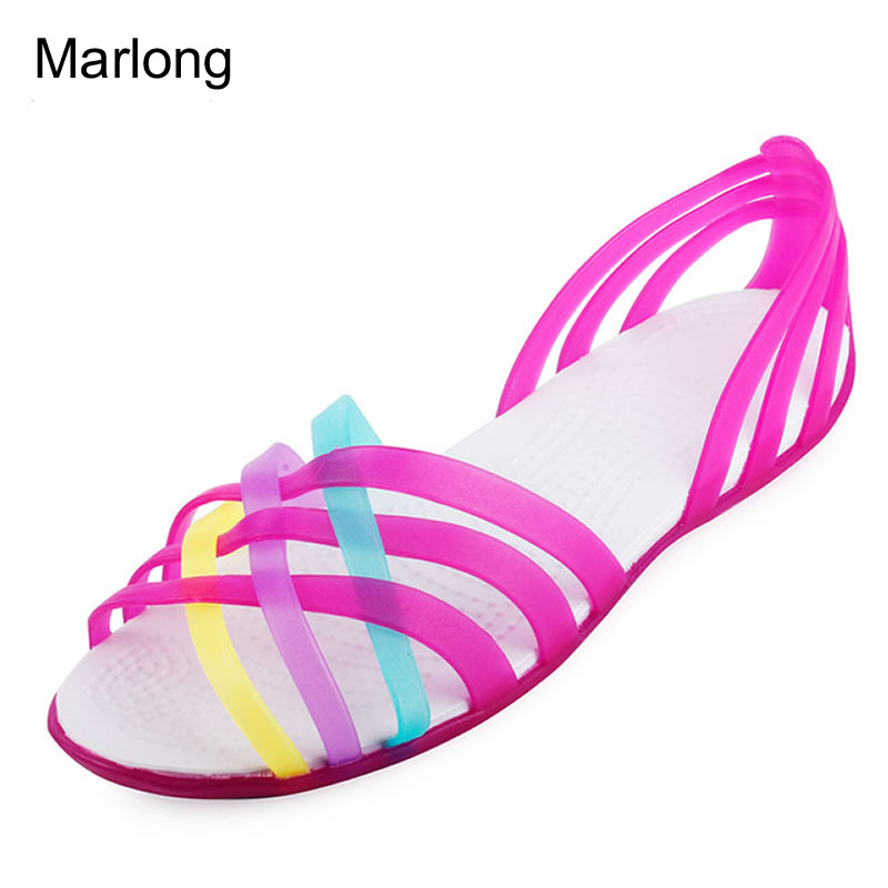 Marlong Women Sandals Summer New Candy Color Women Shoes Peep Toe Stappy Beach Valentine Rainbow  Jelly Shoes Woman marlong women sandals summer new candy color women shoes peep toe stappy beach valentine rainbow jelly shoes woman