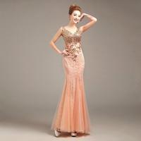 Vestidos De Festa 2016 Elegant Mermaid Gold Appliques Lace Evening Dress Long Formal Evening Gowns