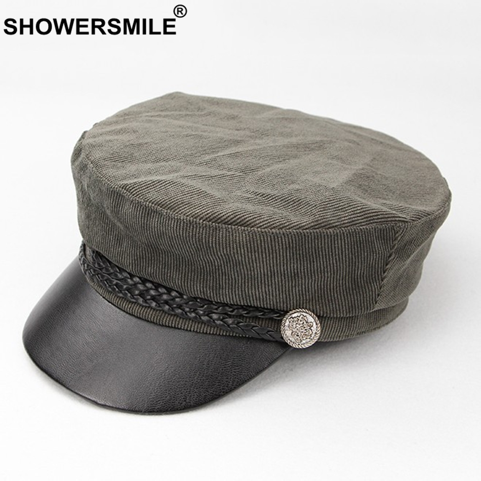 da698402886 SHOWERSMILE Corduroy Military Cap Women Patchwork Khaki Army Caps Ladies  Fitted Elegant Flat Caps Ivy Autumn Fashion Sailor Hat-in Military Hats  from ...
