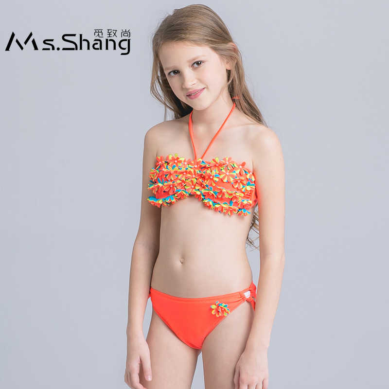 a3655f8b4 5-16 Years Kids Swimsuit Girls Bikini Set 3D Floral Two Piece Children  Swimwear Teenager
